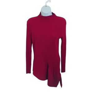 Le Chateau Cherry Red Asymmetrical Knit Sweater XL